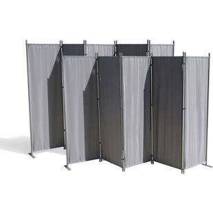 Grasekamp 2 Stück Paravent 5 teilig Grau  Raumteiler Trennwand Sichtschutz