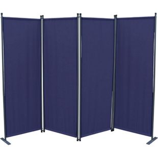 Grasekamp Ersatz Bezug Paravent 4tlg Blau  Raumteiler Trennwand Sichtschutz