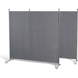 Grasekamp 2 Stück Stellwand 180 x 180 cm Grau  Paravent Raumteiler Trennwand  Sichtschutz