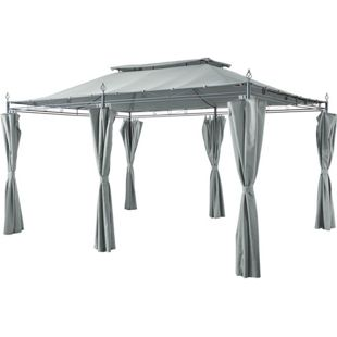 Grasekamp Garten-Pavillon Inca 3x4m Grau mit  Seitenteil Sets geschlossen Party-Zelt  Terrassen-Dach
