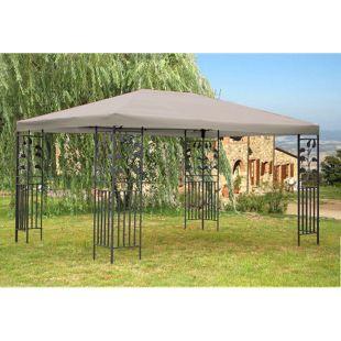 Grasekamp Garten-Pavillon Blätter 3x4m Grau  Partyzelt Carport Gartenzelt Gazebo