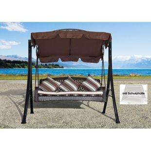 Grasekamp Hollywoodschaukel Portofino Polyrattan  mit Schutzhülle Relax Liege Schaukel  Gartenliege