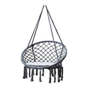 Grasekamp Hängesessel zum Aufhängen mit rundem  Sitzkissen Grau Belastbarkeit max. 100  kg Schwebesessel