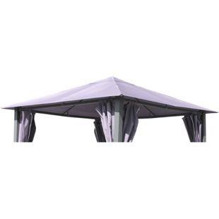 Grasekamp Ersatzdach zu Garten-Pavillon Paris 3x3m  Platin-Grau Gazebo Gartenzelt Partyzelt