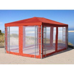 Grasekamp Aluoptik Pavillon 3x4m Terra mit 4  Seitenteilen Moskitonetz Rankpavillon  Partyzelt Gazebo