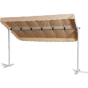 Grasekamp Standmarkise Dubai Beige 375 x 225 cm  Terrassenüberdachung Raffmarkise Mobile  Markise