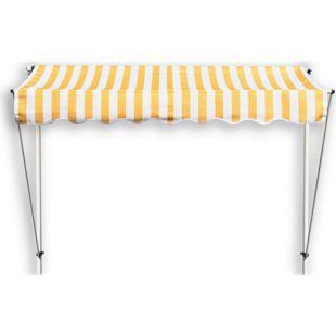 Grasekamp Klemmmarkise Ontario 250x130cm Gelb/Weiß  Balkonmarkise höhenverstellbar von 200  cm – 320 cm