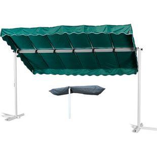 Grasekamp Standmarkise Dubai Grün 375 x 225 cm mit  Schutzhülle Terrassenüberdachung  Raffmarkise Mobile Markise Ziehharmonika