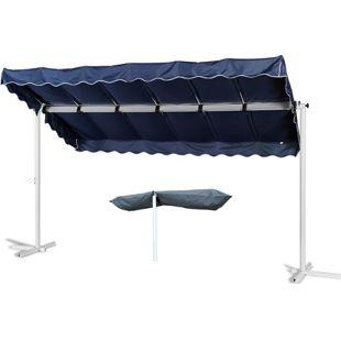 Grasekamp Standmarkise Dubai Blau 375 x 225 cm mit  Schutzhülle Terrassenüberdachung  Raffmarkise Mobile Markise Ziehharmonika