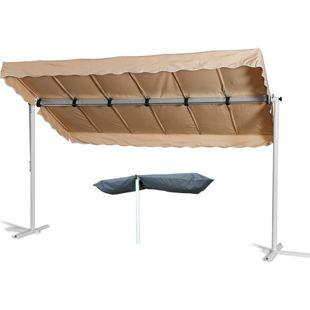 Grasekamp Standmarkise Dubai Beige 375 x 225 cm  mit Schutzhülle Terrassenüberdachung  Raffmarkise Mobile Markise Ziehharmonika