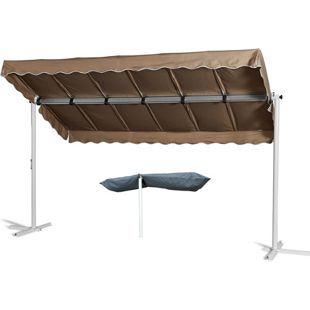 Grasekamp Standmarkise Dubai Taupe 375 x 225 cm  mit Schutzhülle Terrassenüberdachung  Raffmarkise Mobile Markise Ziehharmonika