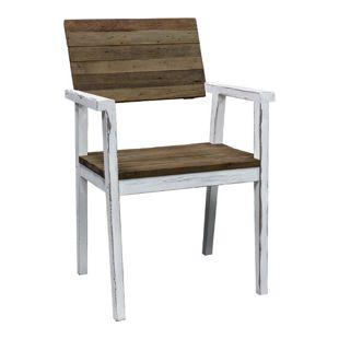 GARDENho.me Strandgut07 Stuhl Sessel, Weiß/Braun, Gartenstuhl ca. 58 x 61,5 x 90 cm
