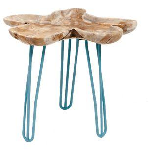 GARDENho.me Teak Wurzeltablett ca. Ø 30 cm, mit Hairpin - Beinen blau, 3 Füße