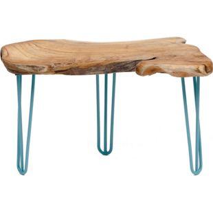 GARDENho.me Teak Wurzeltisch ca. 70 cm, mit Hairpin - Beinen blau, 3 Füße