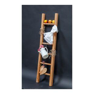 GARDENho.me Teak Deko Leiter ca. 150 x 40 cm Handtuchhalter Kleiderständer Holzleiter