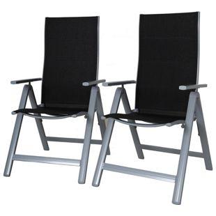 GARDENho.me 2tlg. Set Klappstuhl Aluminium Gartensessel 9fach verstellbar Deluxe Version ergonomischer Sitz & Rücken Campingsessel grau/schwarz
