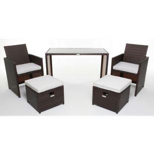 GARDENho.me Polyrattan Gartenmöbel braun Rattan Essgruppe Gartenset Lounge Sitzgruppe Sofa Loungemöbel Garnitur inkl. Kissen