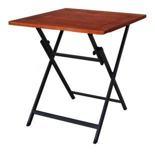 GARDENho.me Aluminium Klapptisch mit Tischplatte aus Akazie ca. 70x70 cm Balkontisch Beistelltisch grau/braun
