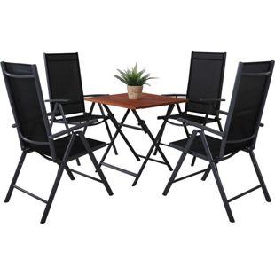 GARDENho.me 5tlg. Sitzgruppe,bestehend aus 1 x Klapptisch 70x70 cm und 4 Aluminium Klappstühle schwarz/braun
