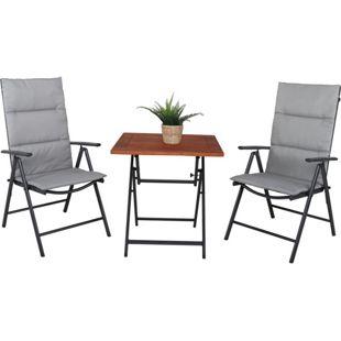 GARDENho.me 5tlg. Sitzgruppe,bestehend aus 1 x Klapptisch 70x70 cm und 2 Aluminium Klappstühle grau/braun mit Auflagen grau