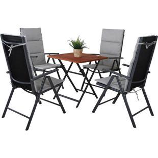 GARDENho.me 9tlg. Sitzgruppe,bestehend aus 1 x Klapptisch 70x70 cm und 4 Aluminium Klappstühle grau/braun mit Auflagen grau