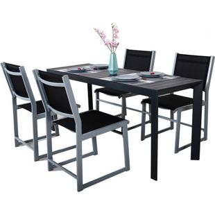 GARDENho.me 5tlg. Sitzgruppe Gartengarnitur Gartenmöbel Set Sitzgarnitur, 1 x Aluminium Ausziehtisch 127-165x57x71,5 cm, 4 Aluminium Sessel
