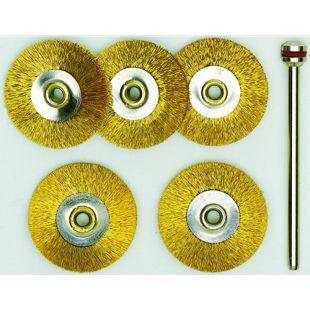 Proxxon Radbürsten Messing 22 mm 5 Stück und1 Träger