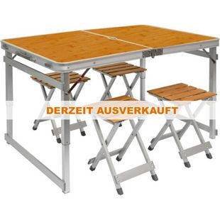 Klappbarer stabiler Campingtisch 110x70x70cm inkl. 4 Metall-Falt-Hocker Campingtisch Set Bambus Opti