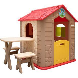 Kinderspielhaus inkl. Tisch und 2 Bänken Kunststoff Spielhaus Kinder-Gartenhaus für Innen Draußen