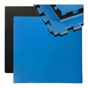 Puzzlematte Sportmatte Steckmatte inkl. Rand 90x90cm Wendematte Schwarz-Blau