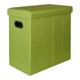 Faltbarer Wäschekorb 70L Wäschetruhe mit Deckel Wäschebox Wäschesammler Leinen-Optik Grün