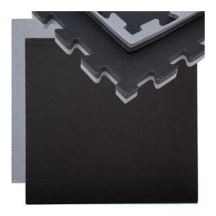 Trainingsmatte 90x90cm Bodenschutz-Matte 20mm dick erweiterbar Grau Schwarz