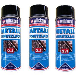 3 x WILCKENS 400ml Metall Schutzlack Spray 2in1 Rostschutz schwarz 1L/9,74?