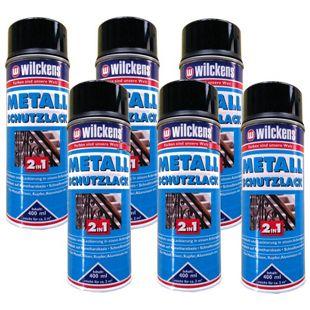 6 x WILCKENS 400ml Metall Schutzlack Spray 2in1 Rostschutz Lackierung schwarz 1L/10,41€