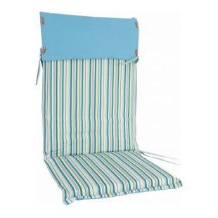 Auflage für Hochlehner Sessel Gartenstühle Kissen Sitzkissen blau gestreift