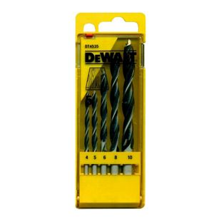 5tlg. DeWalt Holz Spiralbohrer Set DT4535 CV Bohrer Ø 4 5 6 8 10 mm Werkzeug