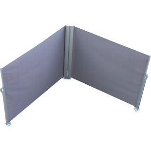 Leco Doppel Seitenmarkise Markise 1,6x6m Sichtschutz Trennwand Windschutz grau
