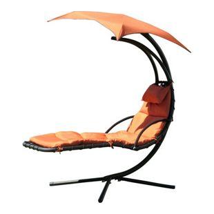 Leco Design Schwingliege Gartenliege Liege Sonnensegel Sonnenliege terracotta