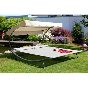 Design Leco Liege + Sonnendach Garten Liege Sonnenliege Rollliege Gartenliege