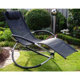 Leco Luxus Schaukelstuhl Sonnenliege Garten Möbel Liege Gartenstuhl schwarz