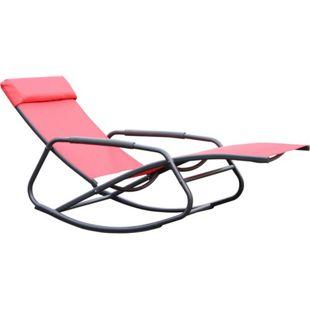 Leco Schaukelsessel Schaukelliege Sonnenliege Gartenliege Relax Liege Sessel rot