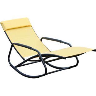 Leco Schaukelsessel Schaukelliege Sonnenliege Gartenliege Relax Liege gelb