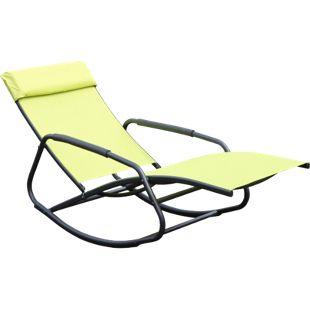 Leco Schaukelsessel Schaukelliege Sonnenliege Gartenliege Relax Liege grün