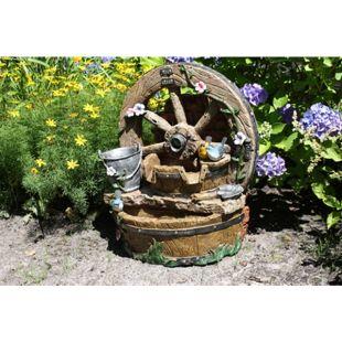 66cm Brunnen Holz Stein Optik Wasserspiel Springbrunnen Kaskaden Rad Garten