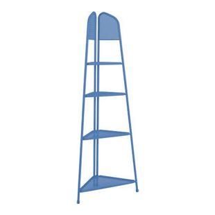 Metall Balkon Eckregal Regal Standregal Ablage Aufbewahrung Eckschrank blau