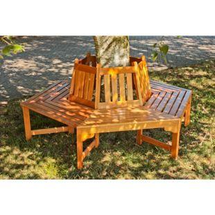 Garden Pleasure Holz Baumbank Ontario 6 eckig Garten Bank Sitzbank Parkbank
