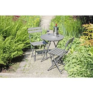3tlg. Balkon Set Garten Terrasse Tisch Stuhl Klapptisch Klappstuhl Stühle Holz