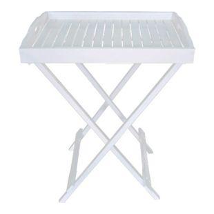 Garden Pleasure Tablettständer Tablett Beistelltisch Tisch Eukalyptus Holz weiß