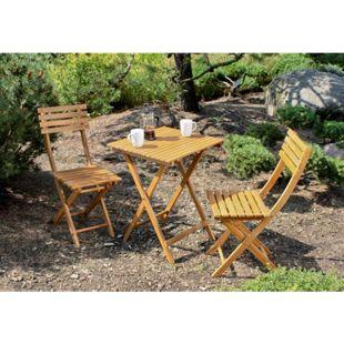 3tlg. Garden Pleasure Balkon Set Alameda Akazie Holz Tisch + Stuhl Stühle Möbel
