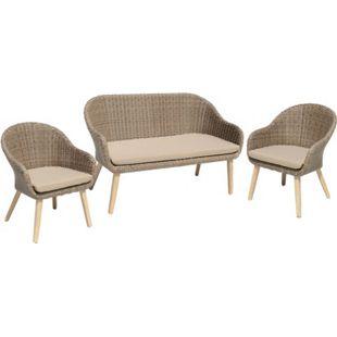 3tlg. Garten Sofa Stuhl Set + Kissen Lounge Sitzgruppe Möbel Akazie Rattan Optik